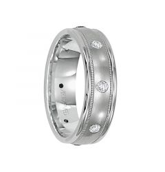 PRICELESS 14k White Gold Wedding Band Domed Satin Finish Milgrain Rolled Edges by ArtCarved- 4.5 mm