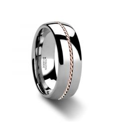 ROSSMOOR Braided Rose Gold Inlay Domed Tungsten Ring - 6mm & 8mm