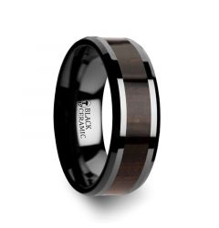 UMBRA Black Ebony Wood Inlaid Black Ceramic Ring with Beveled Edges - 8mm
