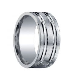 COMSTOCK Flat Dual Offset Grooves Silver Ring by Benchmark - 10mm