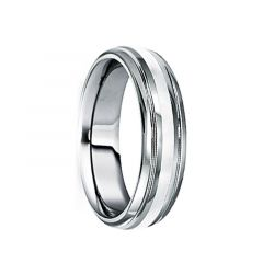 BLANDUS 18K White Gold Inlaid Tungsten Carbide Wedding Band by Crown Ring - 6mm & 8mm