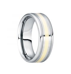 CAESAR 18K Yellow Gold Inlaid Tungsten Wedding Band with Dual Grooves by Crown Ring - 6mm & 8mm