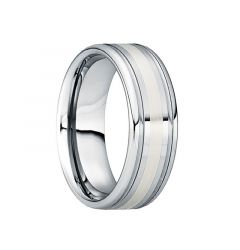 CAIUS Tungsten Wedding Ring with 18K White Gold Inlay & Dual Groove Edges by Crown Ring - 6mm & 8mm