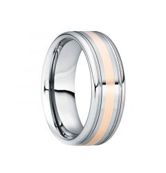 CAMILLUS Tungsten 18K Rose Gold Inlaid Wedding Band with Double Groove Accents by Crown Ring - 6mm & 8mm