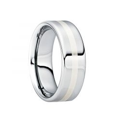 CASSIAN Tungsten Carbide Wedding Ring with 18K White Gold Inlay & Polished Finish by Crown Ring - 6mm & 8mm