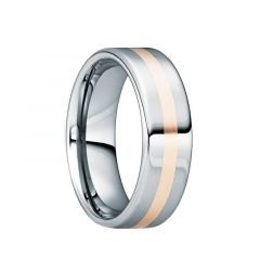 CASSIANUS Tungsten Carbide Polished Wedding Band with 18K Rose Gold Inlay by Crown Ring - 6mm & 8mm