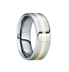 CELSUS Tungsten Carbide 18K Yellow Gold Inlaid Wedding Ring by Crown Ring - 6mm & 8mm