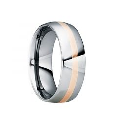 CNAEUS Tungsten Carbide Wedding Band with 18K Rose Gold Inlay by Crown Ring - 6mm & 8mm