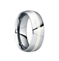 CRISPINUS White Gold Inlaid Tungsten Ring with Polished Finish by Crown Ring - 6mm & 8mm