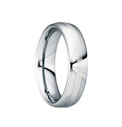 DIOCLETIANUS Polished Tungsten Wedding Ring with 18K White Gold Inlay by Crown Ring - 6mm & 8mm