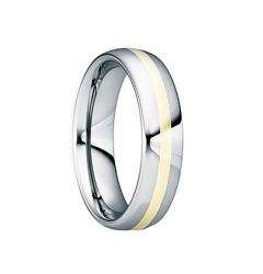 DOMITIANUS 18K Yellow Gold Inlaid Tungsten Wedding Band with Polished Finish by Crown Ring - 6mm & 8mm