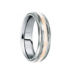 DOMITIUS Polished Tungsten Carbide Wedding Band with 18K Rose Gold Inlay & Dual Grooves by Crown Ring - 6mm & 8mm