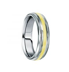 DUILIUS 18K Yellow Gold Inlaid Tungsten Carbide Ring with Dual Grooves by Crown Ring - 6mm & 8mm