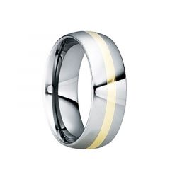 EGNATIUS Tungsten Carbide Wedding Ring with 18K Yellow Gold Inlay & Polished Finish by Crown Ring - 6mm & 8mm
