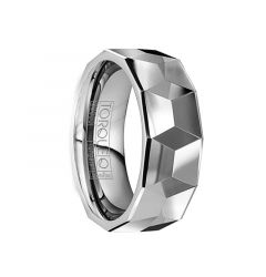 FAUSTINUS Polished Tungsten Wedding Band with Detailed Large Facets by Crown Ring - 8mm