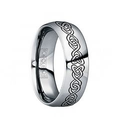FLAVIUS Polished Tungsten Carbide Wedding Band with Engraved Celtic Pattern by Crown Ring - 6mm & 8mm
