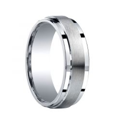 PANAMINT Raised Brush Finished Center Silver Wedding Ring by Benchmark - 7mm