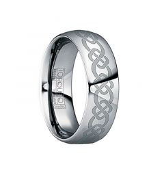 GLAUCIA Polished Tungsten Wedding Band with Thick Celtic Knot Engraving by Crown Ring - 6mm & 8mm