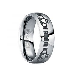 """GORDIANUS Tungsten Carbide Ring with Engraved Claddagh & """"Anam"""" Monogram by Crown Ring - 6mm & 8mm"""