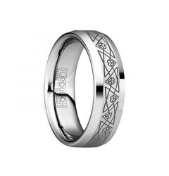 HORATIUS Beveled Tungsten Wedding Band with Brushed Engraved Triangular Pattern by Crown Ring - 6mm & 8mm