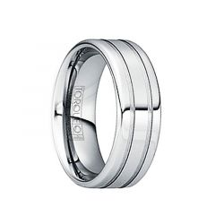 IANUARIUS Polished Tungsten Wedding Band with Brushed Dual Grooves by Crown Ring - 6mm & 8mm