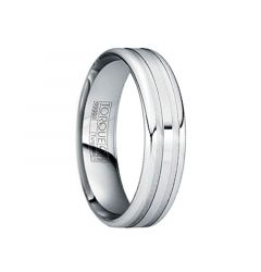 IOVITA Tungsten Comfort Fit Band with Polished & Brushed Matte Grooves by Crown Ring - 6mm & 8mm