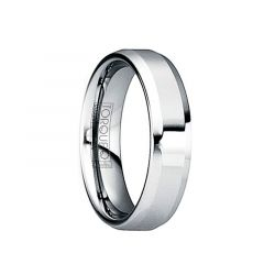 IULIANUS Polished Tungsten Comfort Fit Ring with Beveled Edges by Crown Ring - 6mm & 8mm