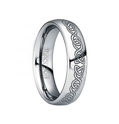 IUNIUS Polished Tungsten Comfort Fit Ring with Black Engraved Celtic Pattern by Crown Ring - 6mm & 8mm