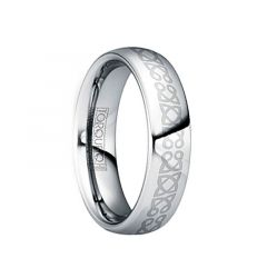 IUVENALIS Polished Tungsten Wedding Ring with Engraved Celtic Center by Crown Ring - 6mm & 8mm