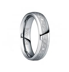 JOVIAN Engraved Celtic Tungsten Band with Dual Grooves & Polished Finish by Crown Ring - 6mm & 8mm