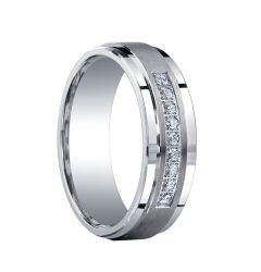 SUMMIT Raised Brush Finished Center Silver Ring with Diamonds by Benchmark - 7mm