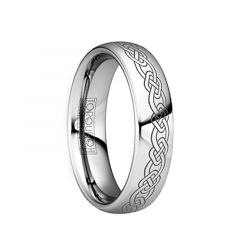 LONGINUS Engraved Celtic Link Polished Tungsten Comfort Fit Ring by Crown Ring - 6mm & 8mm