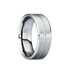 LUCIANUS Brushed Single Groove Tungsten Band with Polished Beveled Edges by Crown Ring - 6mm & 8mm