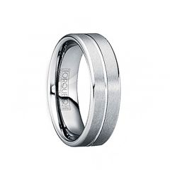 LUCILIUS Brushed Tungsten Comfort Fit Band with Single Groove & Beveled Edges by Crown Ring - 6mm & 8mm