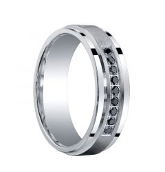ASHANTI Raised Brush Finished Center Silver Ring with Black Diamonds by Benchmark - 7mm