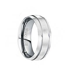 MARINUS Wire Brushed Tungsten Comfort Fit Band with Polished Grooves by Crown Ring  - 6mm & 8mm