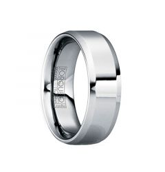 MARTIALIS Beveled & Raised Tungsten Wedding Band with Polished Finish by Crown Ring - 6mm & 8mm