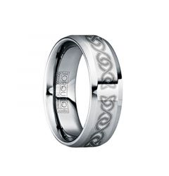 MAXIMIANUS Brushed & Engraved Celtic Knot Tungsten Ring with Raised Center by Crown Ring - 6mm & 8mm