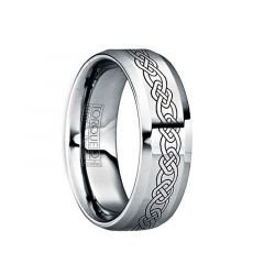 MAXIMINUS Black Celtic Knot Engraved Tungsten Ring with Polished Finish by Crown Ring - 6mm & 8mm