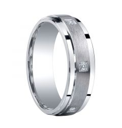 VICTOR Raised Brush Finished Silver Wedding Band with Diamonds by Benchmark - 7mm