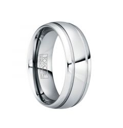 PAULINUS Polished Tungsten Carbide Wedding Band with Dual Grooves by Crown Ring - 6mm & 8mm