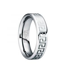 QUINTILIANUS Engraved Greek Key Tungsten Ring with Polished Finish by Crown Ring - 6mm & 8mm
