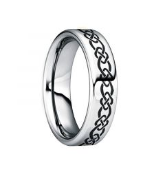 QUINTILLUS Polished Tungsten Wedding Ring with Engraved Celtic Motif by Crown Ring - 6mm & 8mm