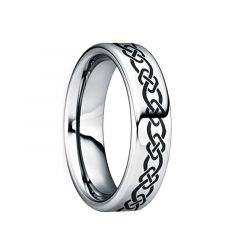 QUINTINUS  Engraved Black Celtic Knot Polished Tungsten Wedding Ring by Crown Ring - 6mm & 8mm