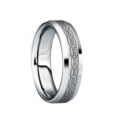 SABINUS Polished Beveled Tungsten Wedding Band with Engraved Black Celtic Knot by Crown Ring - 6mm & 8mm