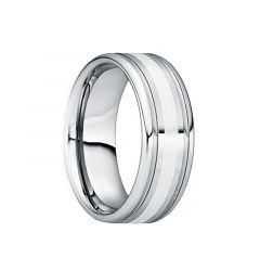 SEVERIANUS Dual Groove Polished Tungsten Wedding Band with Satin Platinum Inlaid Center by Crown Ring - 6mm & 8mm