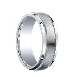 APEX Beveled Edge Silver Wedding Band with Dual Milgrains and Brushed Center by Benchmark - 7mm
