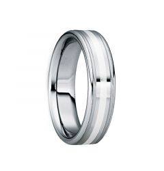 TRAIANUS Silver Inlaid Polished Tungsten Wedding Band with Brushed Dual Grooves by Crown Ring - 6mm & 8mm