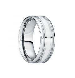 VALENS Polished Silver Inlaid Tungsten Wedding Ring with Dual Grooves by Crown Ring - 6mm & 8mm