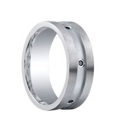 PHILLIPSBURG Wide Center Groove Silver Wedding Band with Black Diamonds by Benchmark - 8mm
